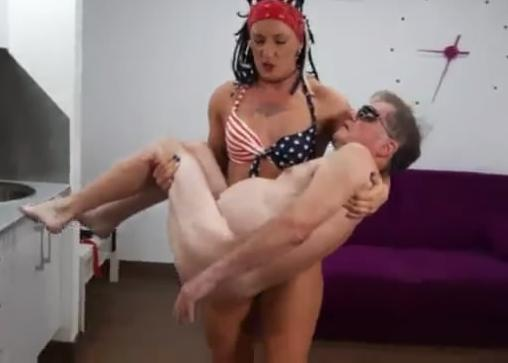 Girl sucks old disabled man's cock