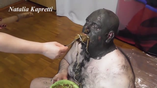 Mistress Natalia Kapretti - Feeding, pushing down shit in the pig's throat