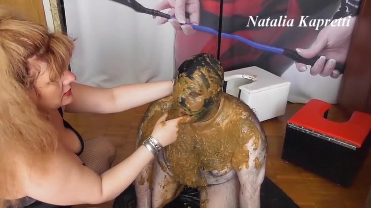 Mistress Natalia Kapretti - Eat five days collected shit, pathetic slave, toilet