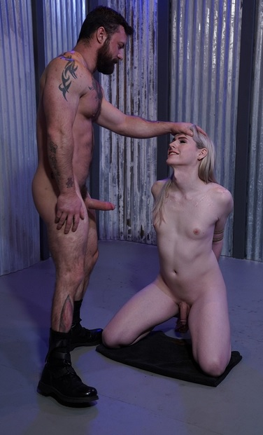 Hot little petite blondie slurping cock