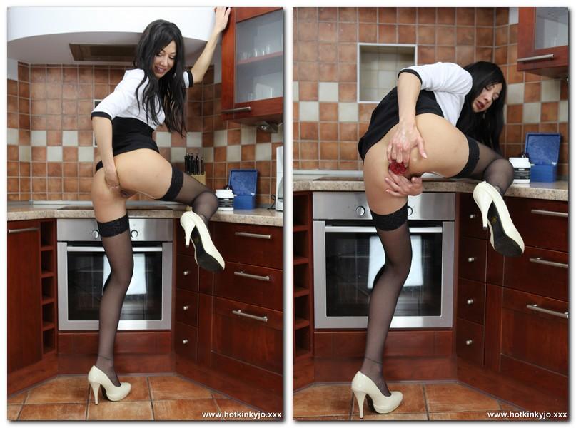HotKinkyJo.xxx - Stockings anal fisting in the kitchen