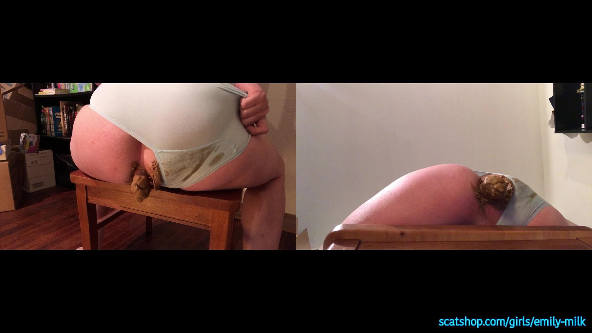 [TGirl]EmilyMilk - Panty Poop Chair! 2 Cameras.