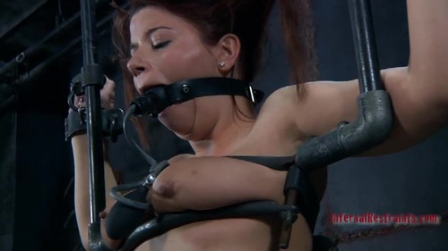 Deep throat training, fingers nailed to pole and very uncomfortable bondage